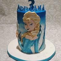 """Frozen"" Watercolor style cake"