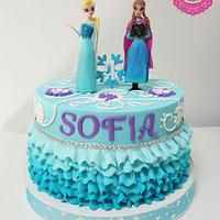Frozen cake with ruffles and bling