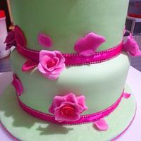 Mint Green and Hot Pink Wedding Cake
