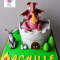 Donkey and Dragon castle cake