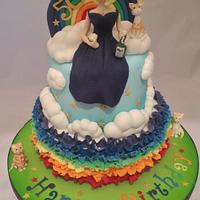 Rainbows and cats 50th birthday cake