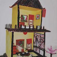 Fantasy World:Cakerbuddies Miniature Doll House:OKAERINASAI (JAPANESE HOUSE) by Monika Srivastava