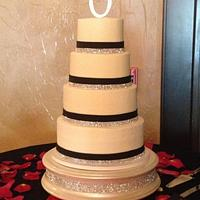 4 Tier Swarovski Trimmed Wedding Cake