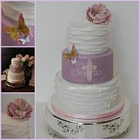 Ruffled Communion Cake  by It's a Cake Thing