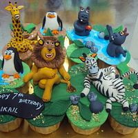 Madagascar Theme Cupcakes