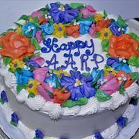 AARP cake buttercream flowers