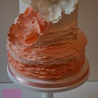 Peach Ombré Ruffle cake