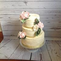 Rustic peonie and rose wedding cake
