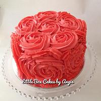 Simple Coral Roses Cake