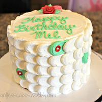 white & green petal cake