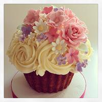 Garden flower themed giant cupcake