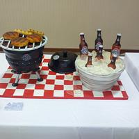 tailgaiting cake with grill and cooler