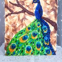 Peacock in palette knife with buttercream