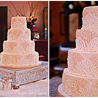 Buttercream Fan Wedding Cake by lorieleann