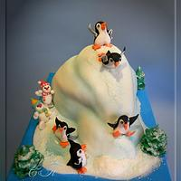 Ice cake with penguins