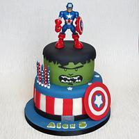 Captain America and Hulk Cake
