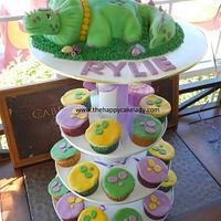 Dino Girl Cake and Cupcakes