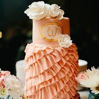 Pink Ruffles and White Gardenia's Wedding Cake