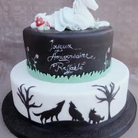 White horse and wolf cake