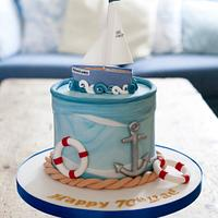 Sailing themed birthday cake
