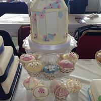 Birdcage cake and cupcakes