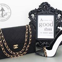 Chanel purse and high heel shoe