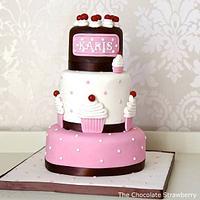 Cupcake themed little girl's cake