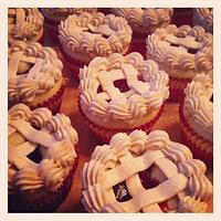 Pi Day Cherry Pie Cupcakes