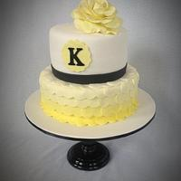 Yellow Ombre Heart Cake with Fondant Rose