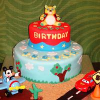 Mixed Themes Cake (Mickey - Cars - Oso) (June 2013)
