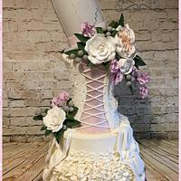 Wedding dress inspired wedding cake