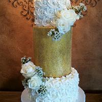 Rosettes and Glitter Wedding Cake