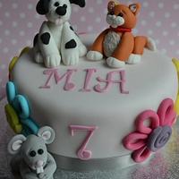 Girly animal cake