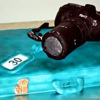 Suitcase and camera cake