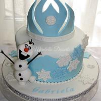 Frozen Cake with Olaf and Elsa's Tiara