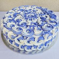 Two toned Rosettes Anniversary Cake