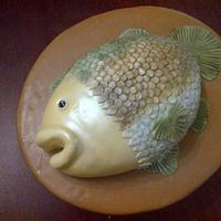 mounted fish plaque cake