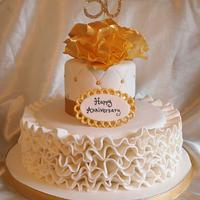 Golden wedding anniversay cake