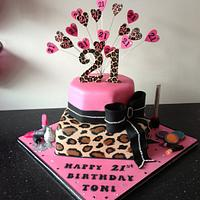 leopard print pink bling cake