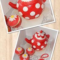Red and white polka dot teapot cake