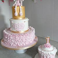 Mouse Ballerina First Birthday Cake