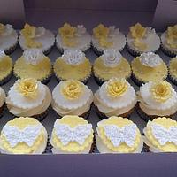 Lemon butterfly and rose cupcakes
