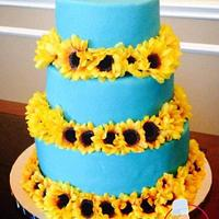 Blue cake with sunflowers