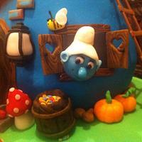 Smurfs Mushroom House Cake