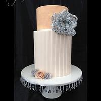 Peachy Wafer Flower Cake