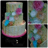 White chocolate and rice paper birthday cake