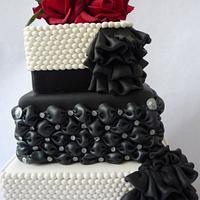 White and Black 3 tiered cake