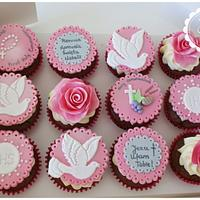 Pink Holy Communion Cupcakes