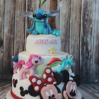 Mickey , Minnie , And Stitch