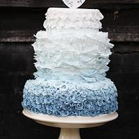 Blue Ombre Ruffled Wedding Cake